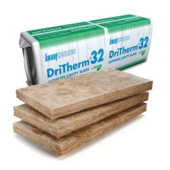 Knauf Dritherm 32 Insulation cavity slab insulation 75nn, 85mm, 100mm, 125mm, 150mm