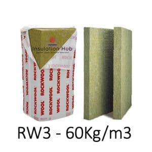 Rockwool RW3 Insulation, Wall, Floor, Acoustic, Thermal, 60kg/m3. 100mm, 75mm, 60mm, 50mm, 40mm, 30mm, 25mm Slab Insulation