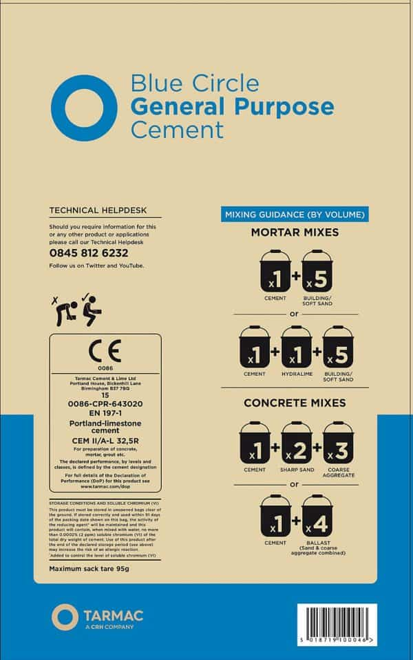 Blue Circle Cement (rear of bag)